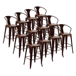 Metro Black + Wood Contemporary Bar Stools Cheaper by the Dozen