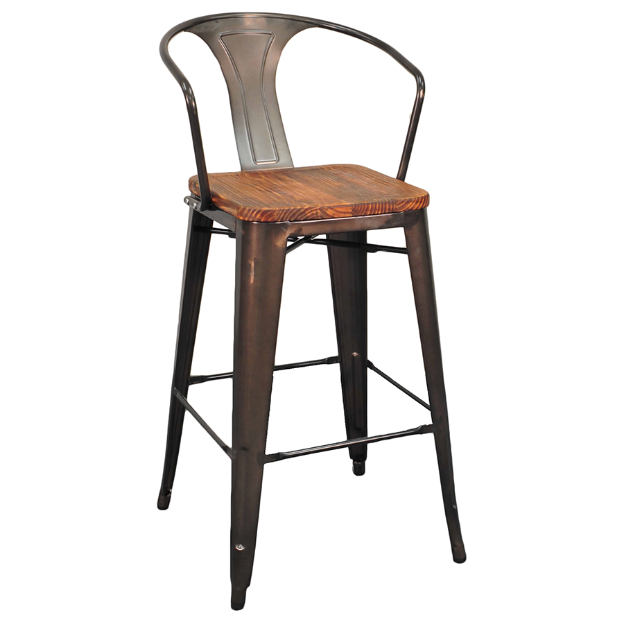 Metro Gun Metal Wood Modern Bar Stool