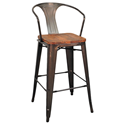 Metro Gun Metal + Wood Modern Bar Stool