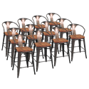 Metro Gun Metal + Wood Modern Counter Stool Cheaper by the Dozen