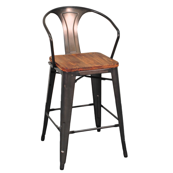 Metro Modern Gun Metal + Wood Counter Stool