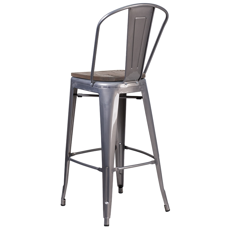Admirable Metro High Back Bar Stool Raw Metal Wood Forskolin Free Trial Chair Design Images Forskolin Free Trialorg