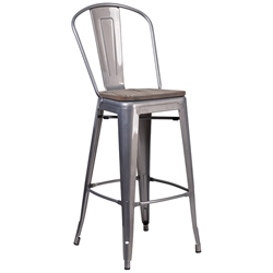Metro High Back Modern Raw Metal + Wood Bar Stool