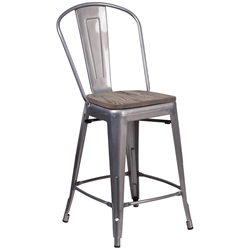 Metro High Back Modern Raw Metal + Wood Counter Stool