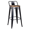 Metro Modern Black Low Back Bar Stool