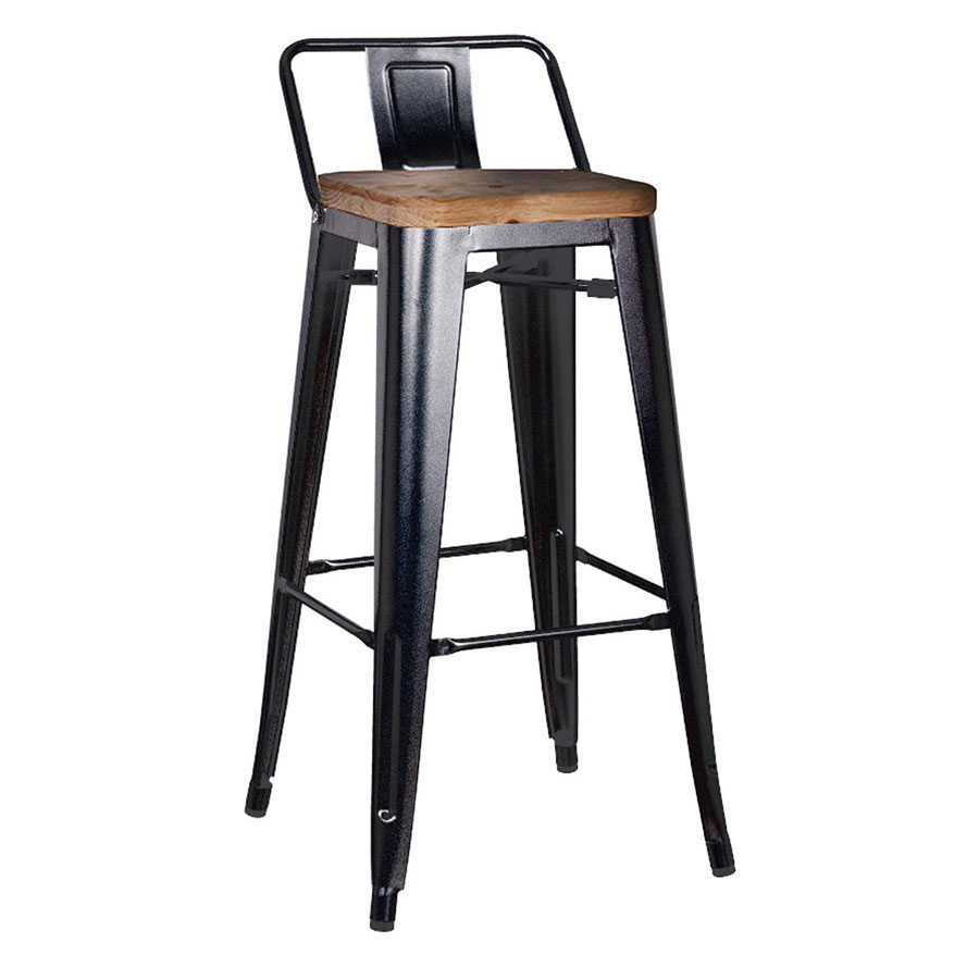 Metro Modern Low Back Black Bar Stool