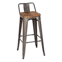 Metro Modern Gun Metal Low Back Bar Stool for Sale