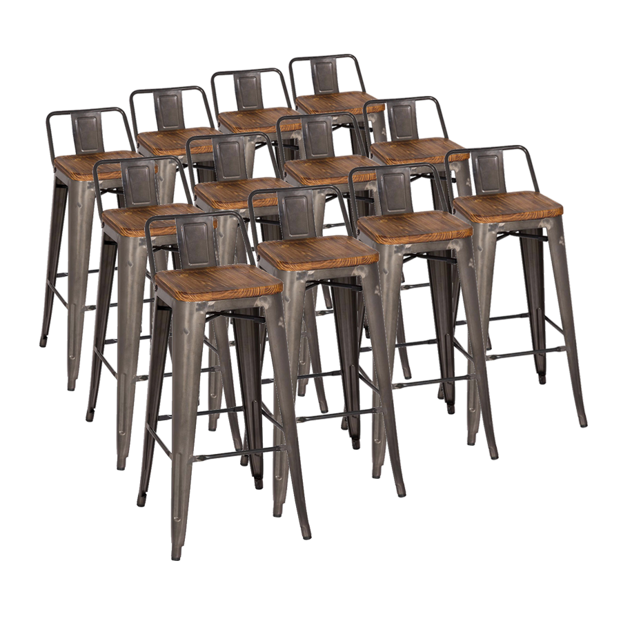 metro low back gun metal  wood bar stool set  eurway - metro gun metal  wood modern bar stool cheaper by the dozen