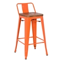 Metro Modern Orange Low Back Bar Stool