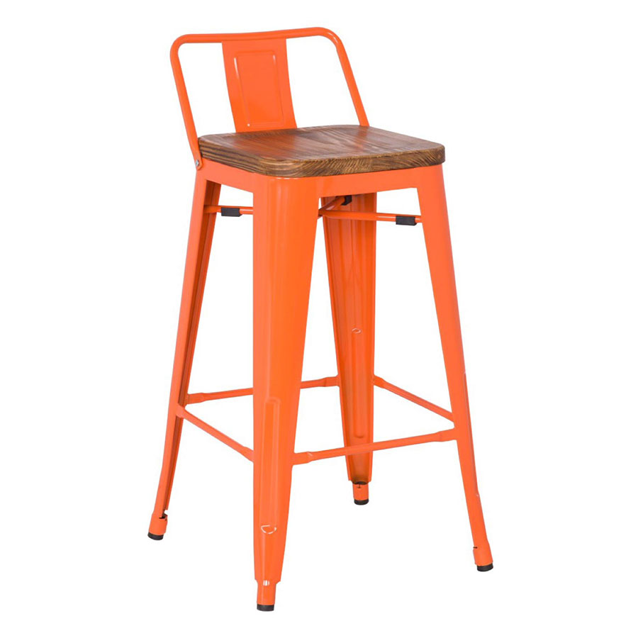 Metro Modern Low Back Orange Bar Stool