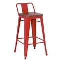 Metro Modern Red Low Back Bar Stool
