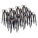Metro Black + Wood Low Back Contemporary Counter Stool Set of 12