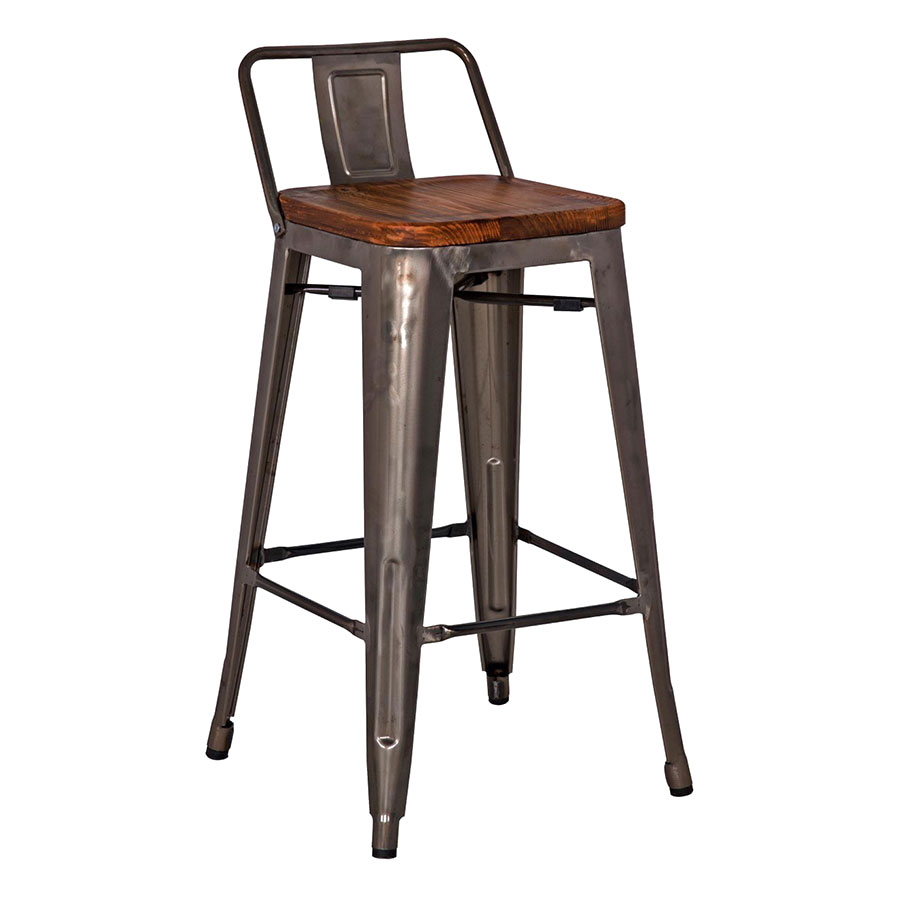 Metro modern low back gun metal counter stool eurway for Counter stools with backs