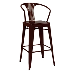 Metro Modern Black Metal Bar Stool