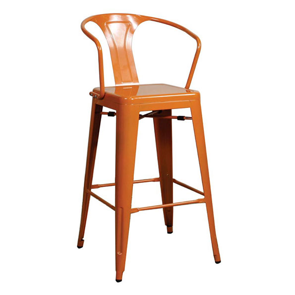 Metro Modern Orange Metal Counter Stool