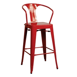 Metro Modern Red Metal Counter Stool