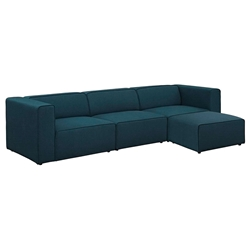 Miami Modern Dark Blue Fabric 4 Piece Sectional Sofa