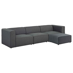 Miami Modern Gray Fabric 4 Piece Sectional Sofa