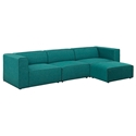 Miami Modern Teal Blue Fabric 4 Piece Sectional Sofa