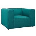 Miami Modern Teal Blue Fabric Arm Chair