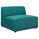 Miami Modern Teal Blue Fabric Armless Chair