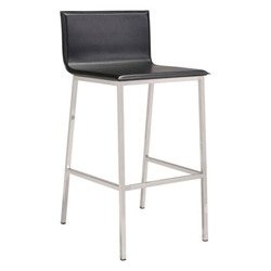Michener Black Faux Leather + Brushed Stainless Steel Modern Bar Stool