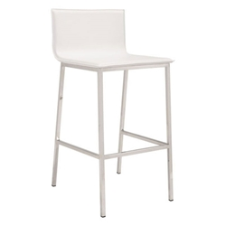 MIchener White Faux Leather + Brushed Stainless Steel Modern Bar Stool