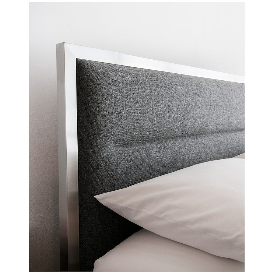 Midway Modern Bed in Varsity Charcoal and Stainless Steel