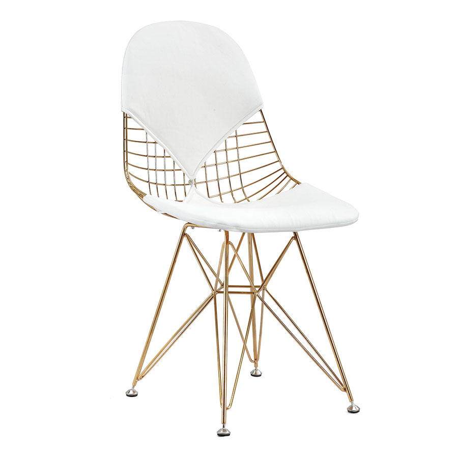 Call To Order · Mildred White + Gold Modern Side Chair