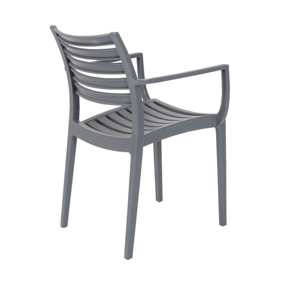 Milena Dark Gray Modern Stacking Arm Chair - Back View
