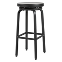Euro Style Miller-B Black Brushed Aluminum Modern Swivel Bar Stool