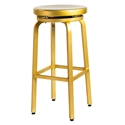 Euro Style Miller-B Brass Brushed Aluminum Modern Swivel Bar Stool