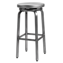 Euro Style Miller-B Nickel Brushed Aluminum Modern Swivel Bar Stool