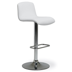 Milo Modern Adjustable Bar Stool in White by Pezzan