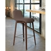 Pezzan Milo Modern Counter Stool in Taupe + Walnut