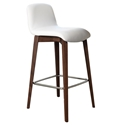Milo Modern Bar Stool in White + Walnut by Pezzan