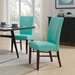 Milt Contemporary Dining Chair in Aqua Bonded Leather