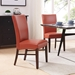 Milt Contemporary Dining Chair in Pumpkin Bonded Leather