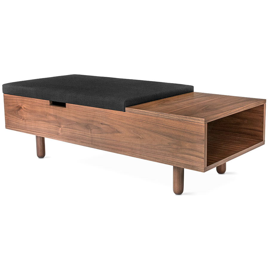 Mimico Contemporary Storage Ottoman in Walnut Gus Modern