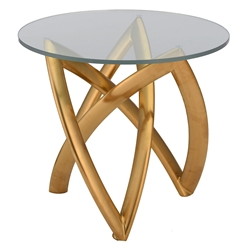 Mineola Clear Glass Top + Gold Metal Base Modern Side Table