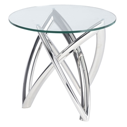 Mineola Polished Steel + Clear Glass Round Modern Side Table
