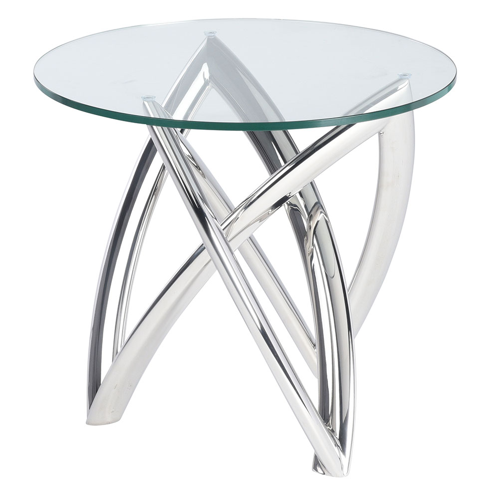 Martina Polished Steel + Clear Glass Round Modern Side Table