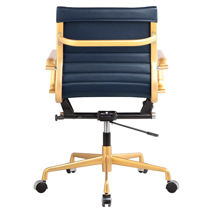 ... Mirana Blue + Gold Contemporary Office Chair