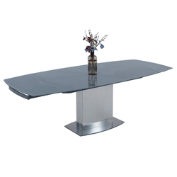 Mitchell Modern Glass + Metal Extension Table