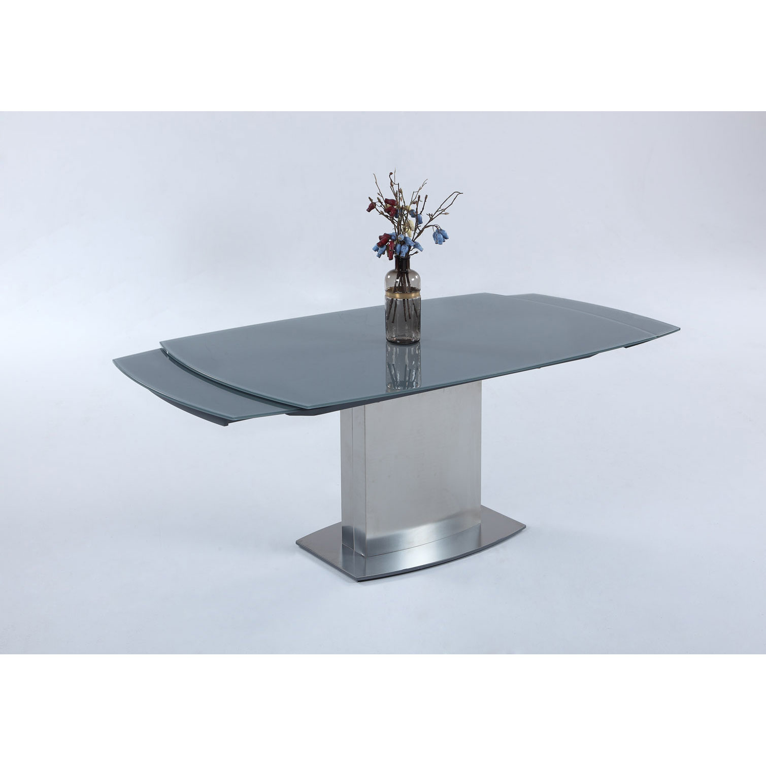 Mitchell Modern Glass Extension Dining Table