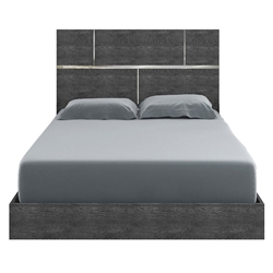 Monopoly Gray Birch Finish + Steel Accents Modern Bed