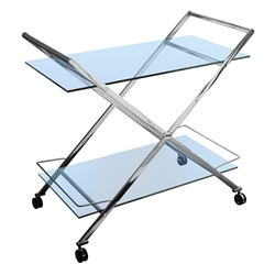 Montague Glass + Metal Modern Bar Cart Kitchen Accessory
