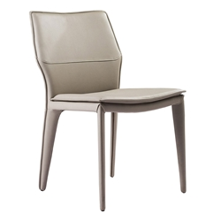 Moorwood Light Gray Faux Leather Fully Upholstered Modern Dining Chair