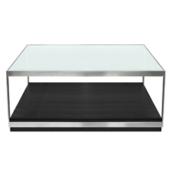 Moreno Modern Stainless Steel + Glass Coffee Table