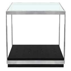 Moreno Modern Stainless Steel + Glass End Table